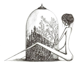 City under the globe - Limited edition - Fine art print 40x50 cm- Signed and Numeroted