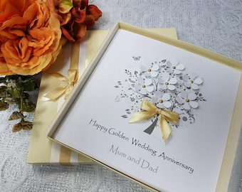 Golden wedding cards etsy golden 50th wedding anniversary card handmade personalised parents grandparents friends any names m4hsunfo