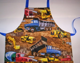 Children's apron or Junior apron, Big Trucks