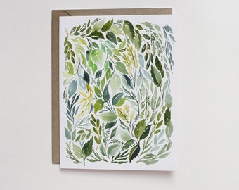 Watercolor Leaves A2 Greeting Card