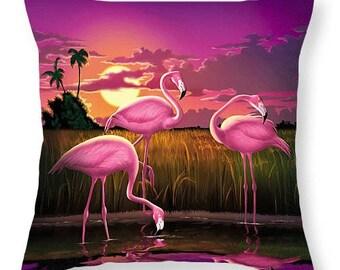 Decorative Pink Flamingos Sunset Retro Throw Pillow, Beach Decor Cover, Florida Everglades