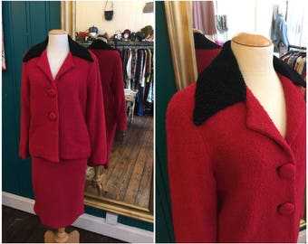 "Late 1950s Red Wool Skirt Suit W25"" XS UK8"