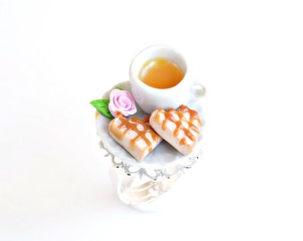 Heart Waffles and Tea Ring, Waffles Ring, Waffles Jewelry, Miniature Waffles, Tiny Waffles, Tea Ring, Food Jewelry, Cute Ring, Romantic Ring