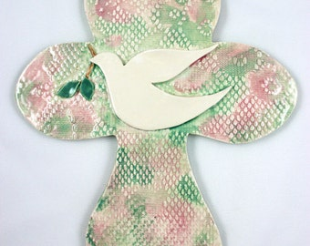 Wall Hanging Ceramic Textured Dove Clay Cross, Christian Cross