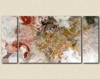 """Oversize abstract expressionism stretched canvas print, 30x60 to 40x78 triptych, in autumn colors, from abstract painting """"Early Snow"""""""