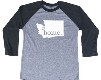 Homeland Tees Washington Home Tri-Blend Raglan Baseball Shirt