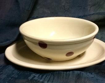 Vintage Iroquois China Iro-Tan Shal-o-Rim Restaurant Ware C-3 Bowl and D-4 Platter
