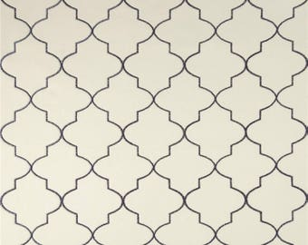 Two  96 x 50   Custom Curtain Panels - Quatrefoil Embroidered Navy