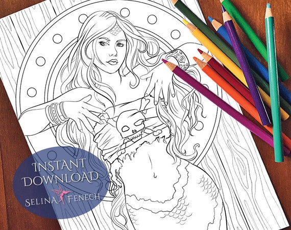 free pirate mermaid coloring pages - photo#43
