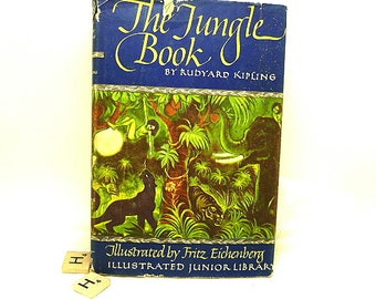 """Vintage Book """"The Jungle Book"""" by Rudyard Kipling  WM116"""