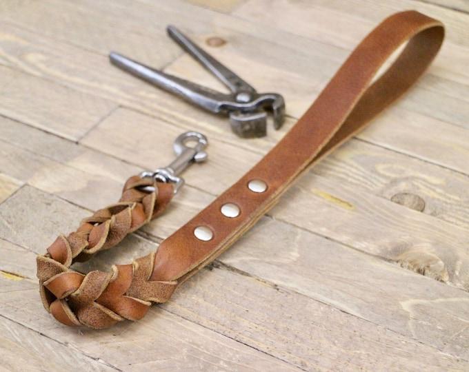 Lead, Handmade dog leash, Braided dog lead, Strong leather leash, Sturdy dog lead, Traffic lead, Short leather leash, Training leash