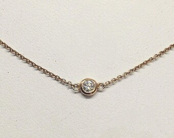 Bezel Single Diamond on 14K Gold Chain - VS2 F - 14K White, Yellow or Rose Pink Gold by Luxinelle 199 Specials