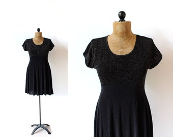 vintage dress 90's babydoll skater grunge sparkly glittery black 1990's women's clothing size medium m