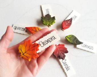 Segnaposto matrimonio personalizzati con foglie d'autunno Decorazioni tavola evento speciale Segnatavolo rustico Regali per gli ospiti 10 pz