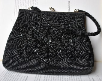Vintage Black Beaded Purse - 1960s Beaded Evening Bag, Free Shipping