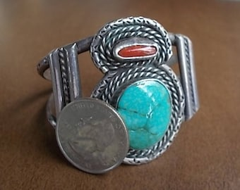 Vintage~Native American~BIG CUFF BRACELET~Sterling Silver~Turquoise~Coral~Cuff~Southwestern~925 Fine Jewelry~Nice~46+gm~Harley Rider~Cowgirl