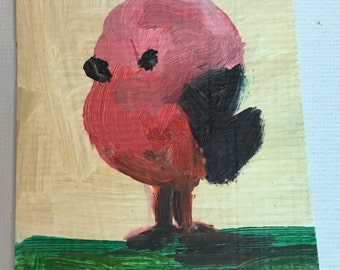 Original ACEO Oil Painting- Cute Little Bird