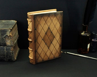 "Leather Journal / Blank Book - Brown Handpainted Leather, ""Kaleidoscope of Magic"""