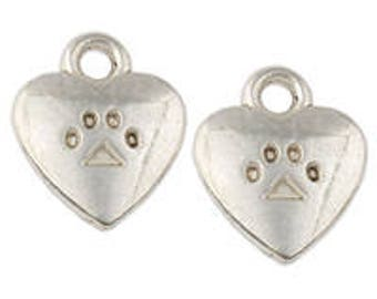 50+pcs Silver Paw Print Heart Charms Small Antique Tibetan Silver Lead Free Nickel Free 10x13mm Paws,Animals,Pets,Dogs,Paws,Dog Tags DIY Jew