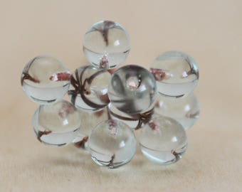 10 balls 5 mm lampwork headpins, copper, aquamarine