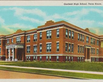 Garfield High School Terre Haute Indiana Vintage Linen Postcard