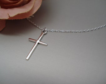 Sterling silver Thin Cross Necklace...Simple Cross pendant, Everyday jewelry, Bridesmaid gift, Gift for her, Faith, Religious jewelry