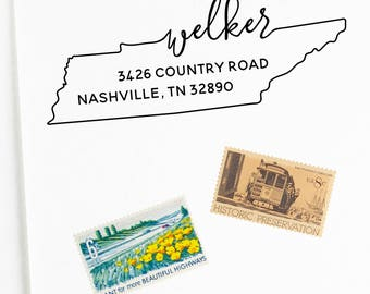 Tennessee return address stamp, state, self inking stamp or rubber stamp wood handle