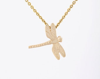 Solid Rose Gold Dragonfly Pendant - Dainty Nature Inspired Jewelry with Engraved Details - 14 Karat Pink Gold - Ready to Ship