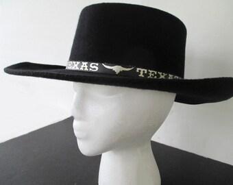 ALAMO COWBOY HAT * Black with Texas Band * Horseshoe Medallion * Size 6 7/8