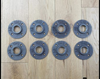 Set of 8 1' - 26 floor flanges / 34 mm cast - 4 holes (free delivery for metropolitan France)