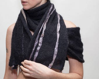 Superfine kid mohair et vente de foulard en soie noir