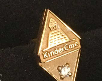 Kindercare 10k Yellow Gold & Diamond Tie Tack or Lapel Pin