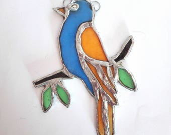 Stained Glass Little Bird on the branch. Stained Glass home decor, window decor, suncatcher.