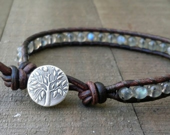 LATE SHIP labradorite leather wrap bracelet fine silver tree of life earthy bracelet boho bracelet stacking bracelet single leather wrap