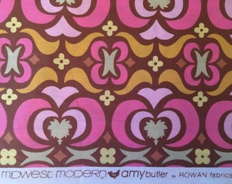 DESTASH Fabric - 2.42 yards of Midwest Modern Orange, Brown, Yellow, Pink and Lime Green Print Quilting Cotton by Amy Butler for Rowan