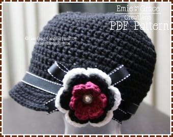 Crochet Newsboy Hat Pattern, Ribbon Flower, JANINE - pdf 226