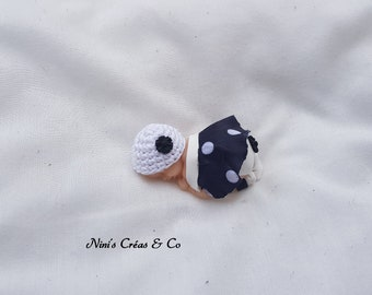 Baby girl with Polymer Clay figurine