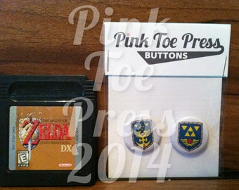 Retro Zelda Hylian Shield Buttons Link's Awakening Link to the Past