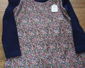 Floral Pattern Pinafore Dress with Sunflower Button Detail