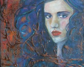 Zsofia [ original mixed media painting on canvas ]