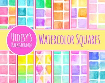 Watercolor Tiles Digital Scrapbooking Paper // Watercolour Squares Digital Paper // Water Color Grid Scrapbooking Paper