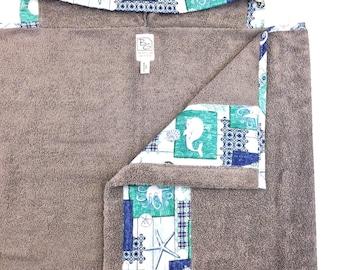 Sea Life Gray Hooded Towel