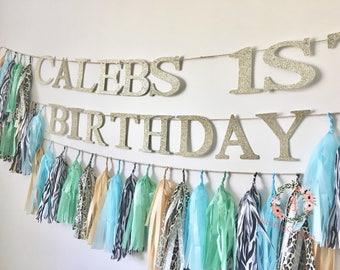 Personalised Tissue Paper Tassel Garland/Pom Tassels/Party Garland/Happy Birthday Tassels/Birthday Sign/Birthday Garland/Banner/Tassel