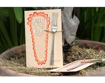 Carrot Plantable Seed Paper with Silverware Garden Marker (E0359)