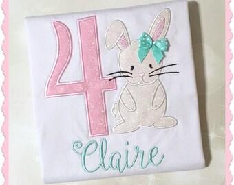Girls Birthday Shirt - Birthday Bunny Shirt - Bunny Rabbit Shirt - Personalized Shirt - First Birthday Shirt - Baby Bunny Shirt