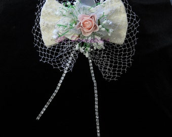 Ivory Brocade Netted Bow
