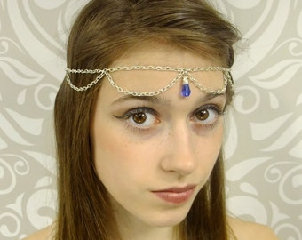 Silver Circlet, Silver Headchain, Headpiece, Costume Headpiece, Choose your Color, Elven, Fairy, Fantasy, Bohemian, Hair Jewelry