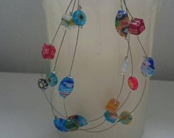 Three strand millefiore bead bracelet