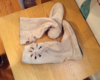 Boots mid calf suede vintage