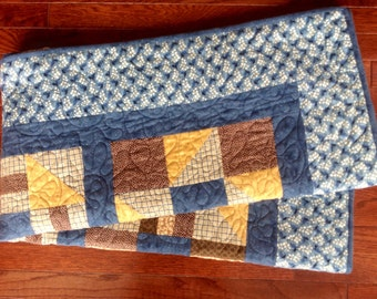 Flannel Sampler Lap/Baby Quilt in Blue, Brown, and Gold